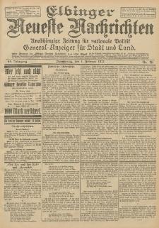 Elbinger Neueste Nachrichten, Nr. 26 Donnerstag 1 Februar 1912 64. Jahrgang