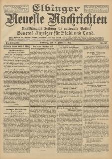 Elbinger Neueste Nachrichten, Nr. 30 Dienstag 6 Februar 1912 64. Jahrgang