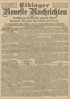 Elbinger Neueste Nachrichten, Nr. 33 Freitag 9 Februar 1912 64. Jahrgang