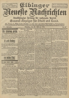 Elbinger Neueste Nachrichten, Nr. 42 Dienstag 20 Februar 1912 64. Jahrgang