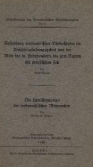 Ansiedlung mennonitischer Niederländer im Weichselmündungsgebiet von der Mitte des 16. Jahrhunderts bis zum Beginn der ...