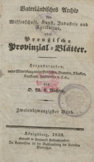 Preussische Provinzial-Blätter, Bd. XXII, 1839
