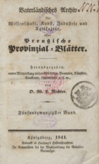Preussische Provinzial-Blätter, Bd. XXV, 1841