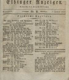 Elbinger Anzeigen, Nr. 2. Sonnabend, 7. Januar 1832