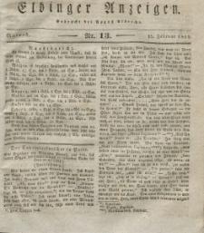 Elbinger Anzeigen, Nr. 13. Mittwoch, 15. Februar 1832