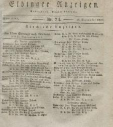 Elbinger Anzeigen, Nr. 74. Sonnabend, 15. September 1832