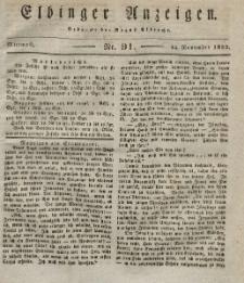 Elbinger Anzeigen, Nr. 91. Mittwoch, 14. November 1832
