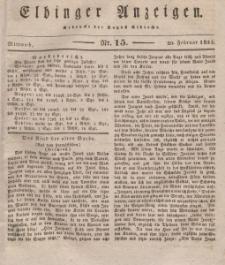 Elbinger Anzeigen, Nr. 15. Mittwoch, 20. Februar 1833
