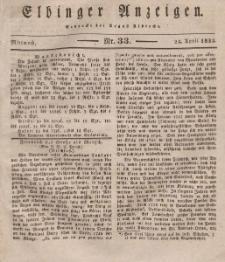 Elbinger Anzeigen, Nr. 33. Mittwoch, 24. April 1833