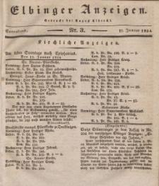 Elbinger Anzeigen, Nr. 3. Sonnabend, 11. Januar 1834