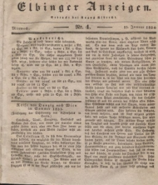 Elbinger Anzeigen, Nr. 4. Mittwoch, 15. Januar 1834