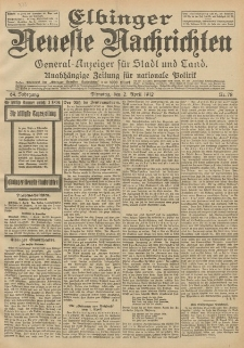 Elbinger Neueste Nachrichten, Nr. 78 Dienstag 2 April 1912 64. Jahrgang