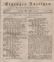 Elbinger Anzeigen, Nr. 63. Sonnabend, 9. August 1834