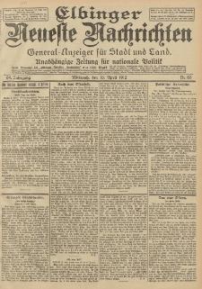 Elbinger Neueste Nachrichten, Nr. 83 Mittwoch 10 April 1912 64. Jahrgang