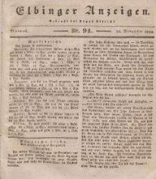 Elbinger Anzeigen, Nr. 94. Mittwoch, 26. November 1834