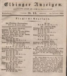 Elbinger Anzeigen, Nr. 13. Sonnabend, 14. Februar 1835