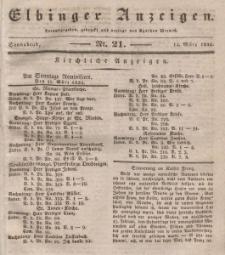 Elbinger Anzeigen, Nr. 21. Sonnabend, 14. März 1835