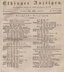 Elbinger Anzeigen, Nr. 31. Sonnabend, 18. April 1835