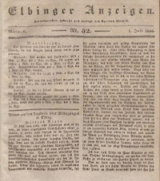 Elbinger Anzeigen, Nr. 52. Mittwoch, 1. Juli 1835