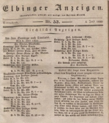 Elbinger Anzeigen, Nr. 53. Sonnabend, 4. Juli 1835