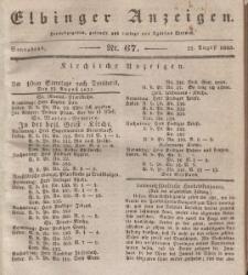 Elbinger Anzeigen, Nr. 67. Sonnabend, 22. August 1835