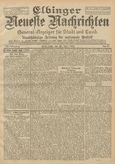 Elbinger Neueste Nachrichten, Nr. 92 Sonnabend 20 April 1912 64. Jahrgang