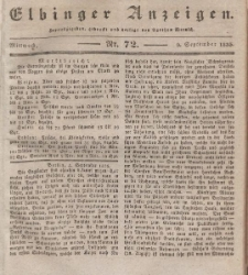 Elbinger Anzeigen, Nr. 72. Mittwoch, 9. September 1835