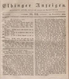 Elbinger Anzeigen, Nr. 92. Mittwoch, 18. November 1835