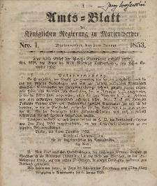 Amts-Blatt der Königl. Regierung zu Marienwerder, 5. Januar 1853, No. 1.