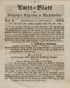 Amts-Blatt der Königl. Regierung zu Marienwerder, 19. Januar 1853, No. 3.