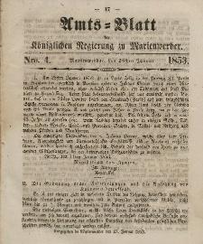 Amts-Blatt der Königl. Regierung zu Marienwerder, 26. Januar 1853, No. 4.