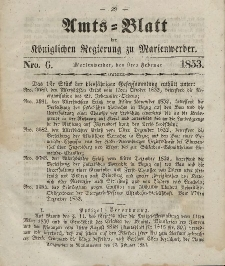 Amts-Blatt der Königl. Regierung zu Marienwerder, 9. Februar 1853, No. 6.