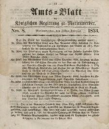 Amts-Blatt der Königl. Regierung zu Marienwerder, 23. Februar 1853, No. 8.