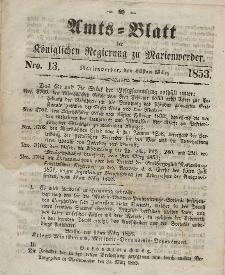 Amts-Blatt der Königl. Regierung zu Marienwerder, 30. März 1853, No. 13.