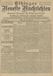 Elbinger Neueste Nachrichten, Nr. 97 Freitag 26 April 1912 64. Jahrgang