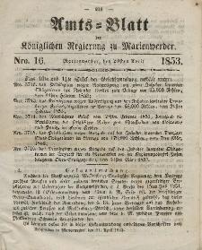 Amts-Blatt der Königl. Regierung zu Marienwerder, 20. April 1853, No. 16.