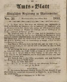 Amts-Blatt der Königl. Regierung zu Marienwerder, 18. Mai 1853, No. 20.