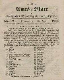 Amts-Blatt der Königl. Regierung zu Marienwerder, 1. Juni 1853, No. 22.