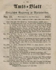Amts-Blatt der Königl. Regierung zu Marienwerder, 8. Juni 1853, No. 23.
