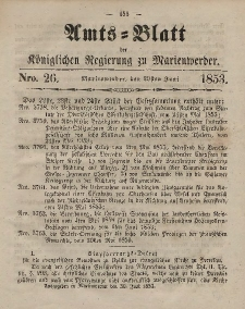 Amts-Blatt der Königl. Regierung zu Marienwerder, 29. Juni 1853, No. 26.