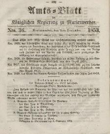 Amts-Blatt der Königl. Regierung zu Marienwerder, 7. September 1853, No. 36.