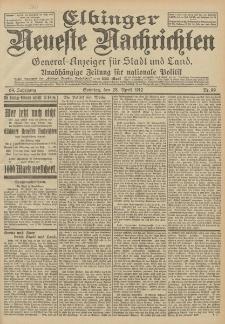 Elbinger Neueste Nachrichten, Nr. 99 Sonntag 28 April 1912 64. Jahrgang