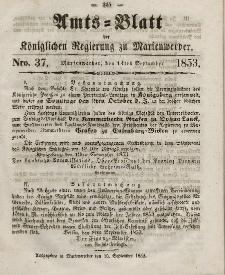 Amts-Blatt der Königl. Regierung zu Marienwerder, 14. September 1853, No. 37.