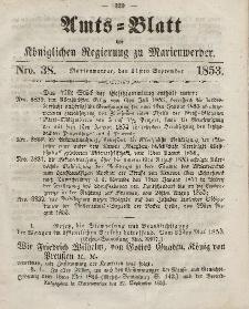 Amts-Blatt der Königl. Regierung zu Marienwerder, 21. September 1853, No. 38.