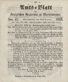 Amts-Blatt der Königl. Regierung zu Marienwerder, 19. Oktober 1853, No. 42.