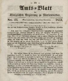 Amts-Blatt der Königl. Regierung zu Marienwerder, 2. November 1853, No. 44.