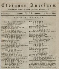 Elbinger Anzeigen, Nr. 15. Sonnabend, 20. Februar 1836