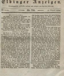 Elbinger Anzeigen, Nr. 70. Mittwoch, 31. August 1836