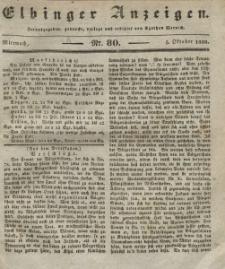Elbinger Anzeigen, Nr. 80. Mittwoch, 5. Oktober 1836