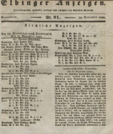 Elbinger Anzeigen, Nr. 91. Sonnabend, 12. November 1836